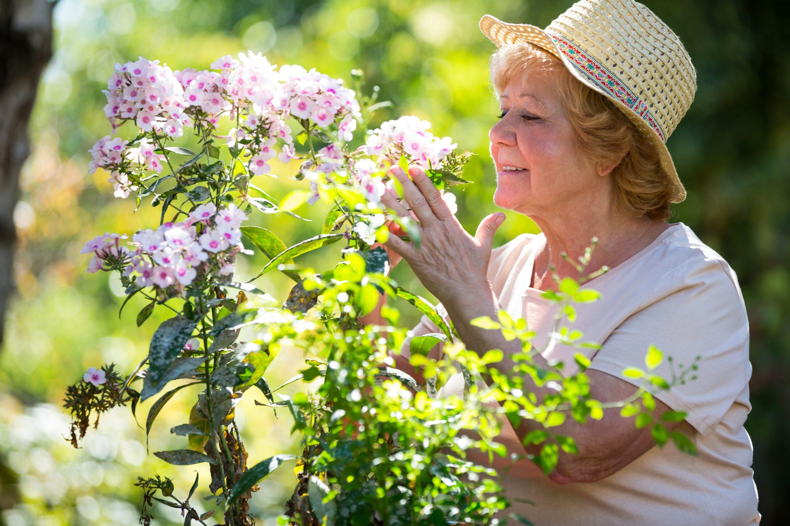 Ältere Dame riecht an Blume