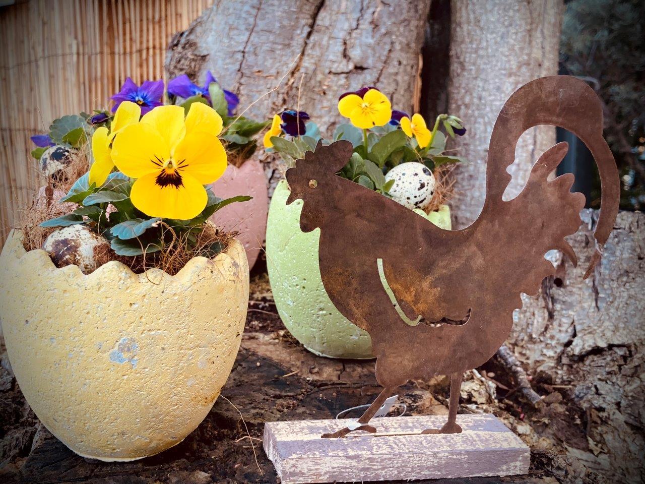 Frühlingsblumen mit Hahn